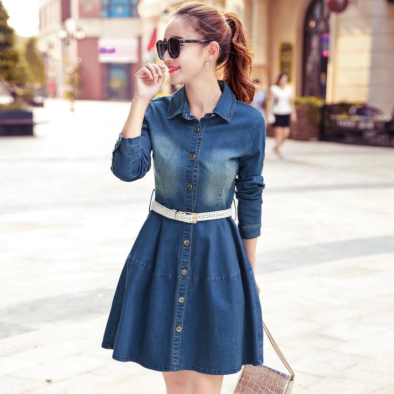 2017春季新款韩版收腰女长袖修身显瘦a字中长款学生牛仔连衣裙潮