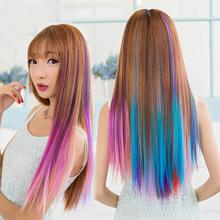 彩色假发片直发片一卡渐变接发紫色假发条夹子发束彩头发一条条的
