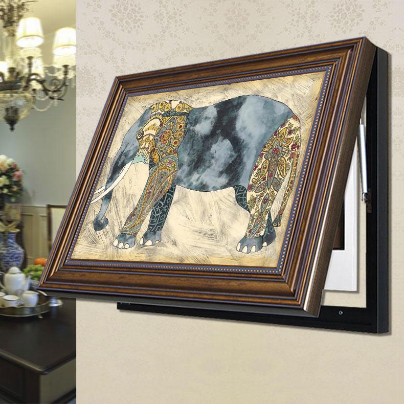 美式电表箱装饰画可推拉欧式遮挡配电箱挂画客厅电