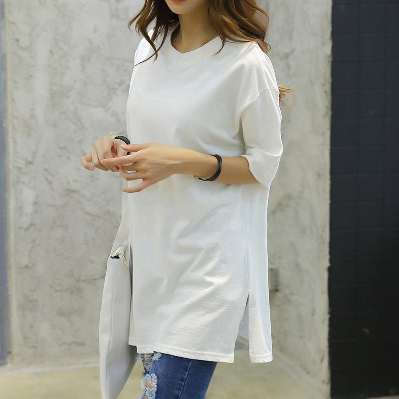 纯白色体恤女韩国春夏季全棉简约宽松休闲纯棉侧边开叉中长款T恤
