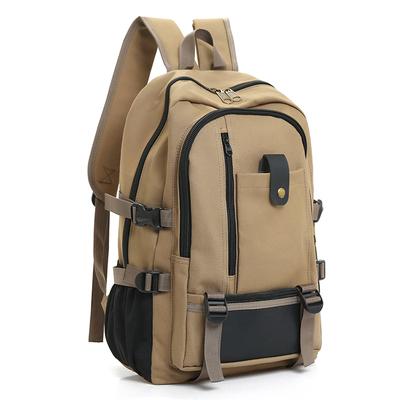 韩版复古帆布大容量男士双肩包旅行背包时尚潮男中大学生书包包邮