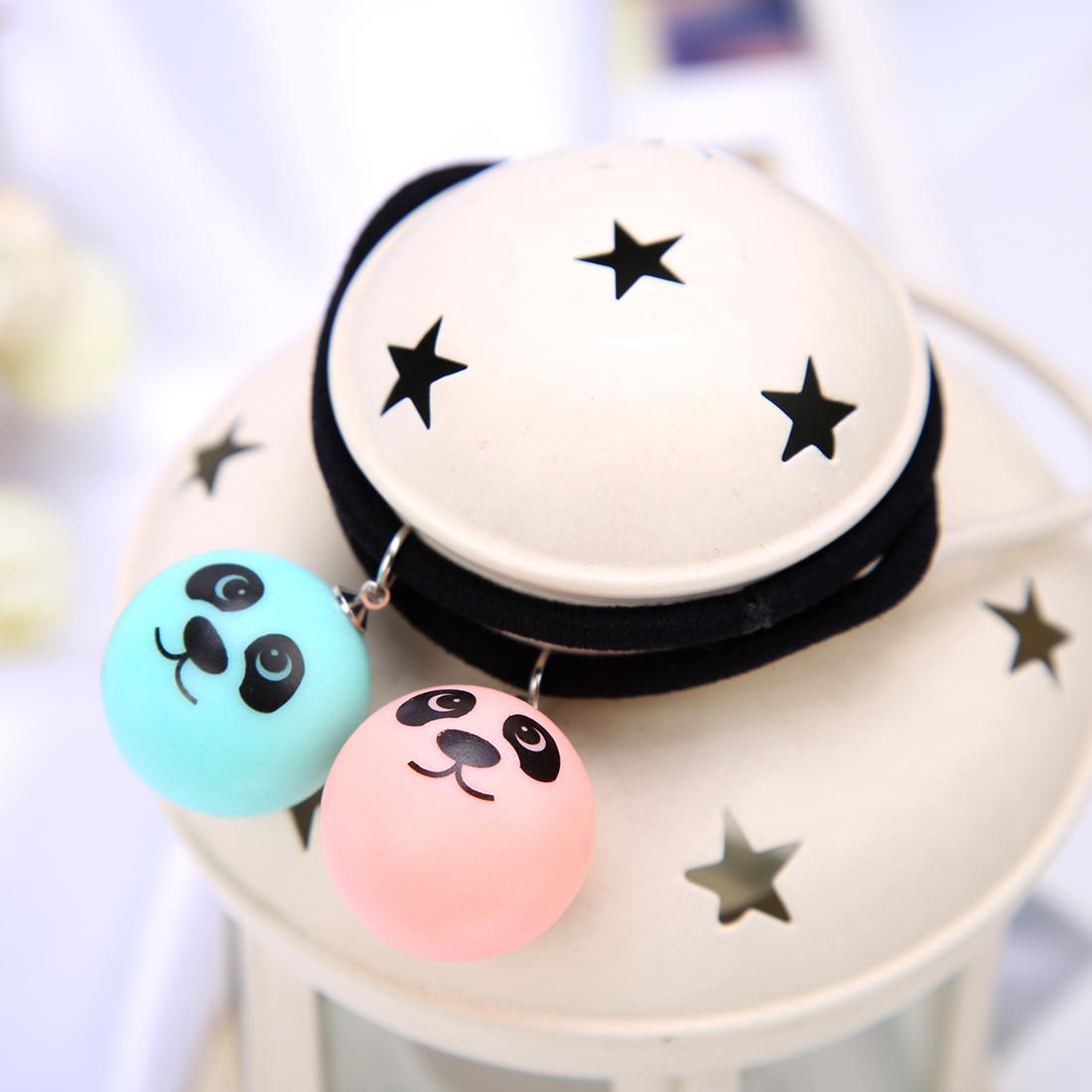 韩版小黄球可爱笑脸爱心表情头发绳饰品眨眼睛涂鸦筋