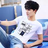 男士短袖t恤2017夏装新款韩版圆领修身白色上衣体恤潮流男装衣服