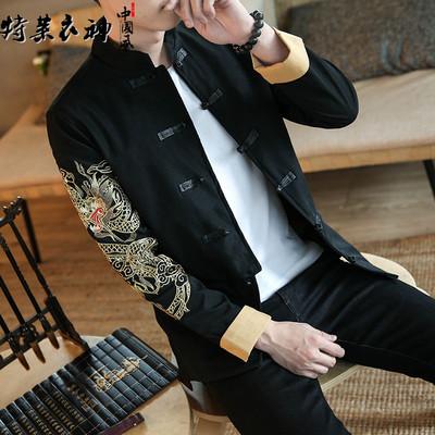 秋季新款原创中国风龙袍刺绣夹克男复古盘扣唐装大码立领外套男潮