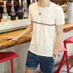 2017夏季修身男士短袖t恤休闲白色打底衫男装圆领体恤潮男半袖t桖