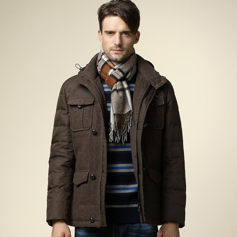 骆驼牌男装 2014秋冬新款男装 时尚都市加厚带帽羽绒服保暖外套