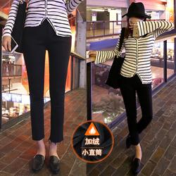 新款韩国高腰加绒加厚九分牛仔裤女修身显瘦毛边加棉小直筒裤黑色