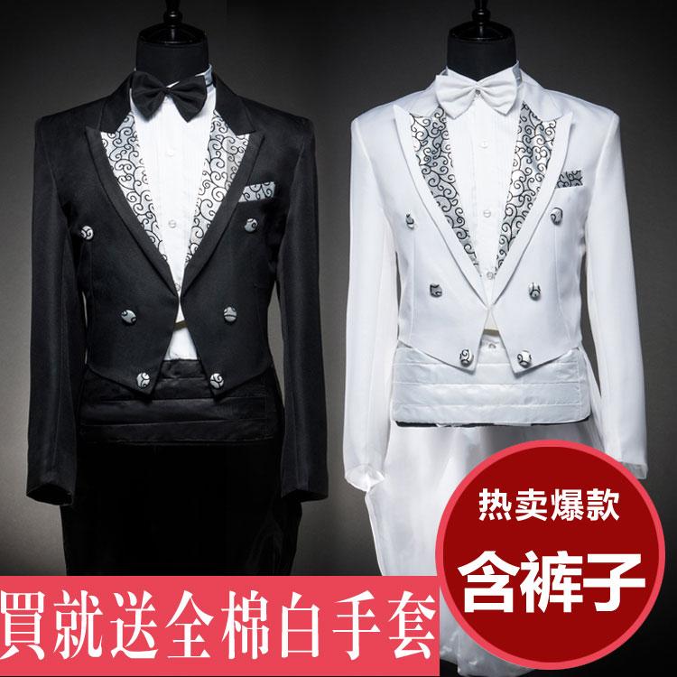 男士燕尾服结婚礼服伴郎魔术师主持人弹钢琴歌手舞蹈演出西服套装