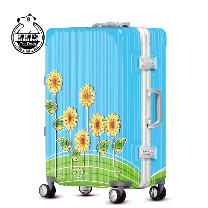胖胖熊向日葵行李箱万向轮登机箱20寸旅行箱24寸个性拉杆箱YQY210