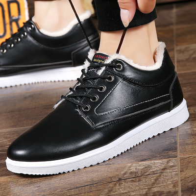 冬季棉鞋男士韩版短靴防水防滑板鞋保暖加绒靴子英伦二棉休闲皮鞋