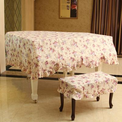 温梦田园 富贵喜庆花布艺三角钢琴罩 三角钢琴防尘罩 可配琴凳罩