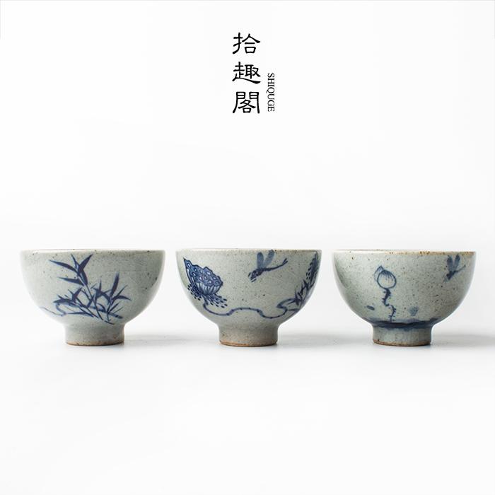 景德镇手绘陶瓷品杯粗陶品茗杯主人杯仿古茶杯开片青花瓷功夫茶具