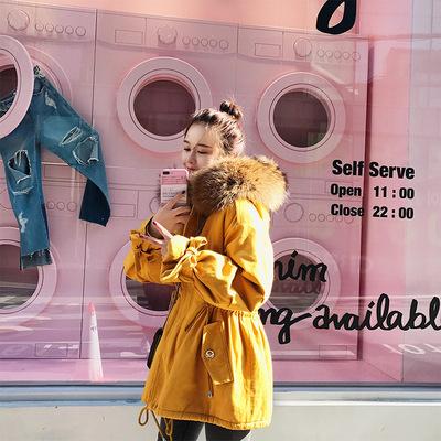 2017春季韩版连帽收腰大毛领羊羔毛外套女棉衣常规中长款长袖棉服