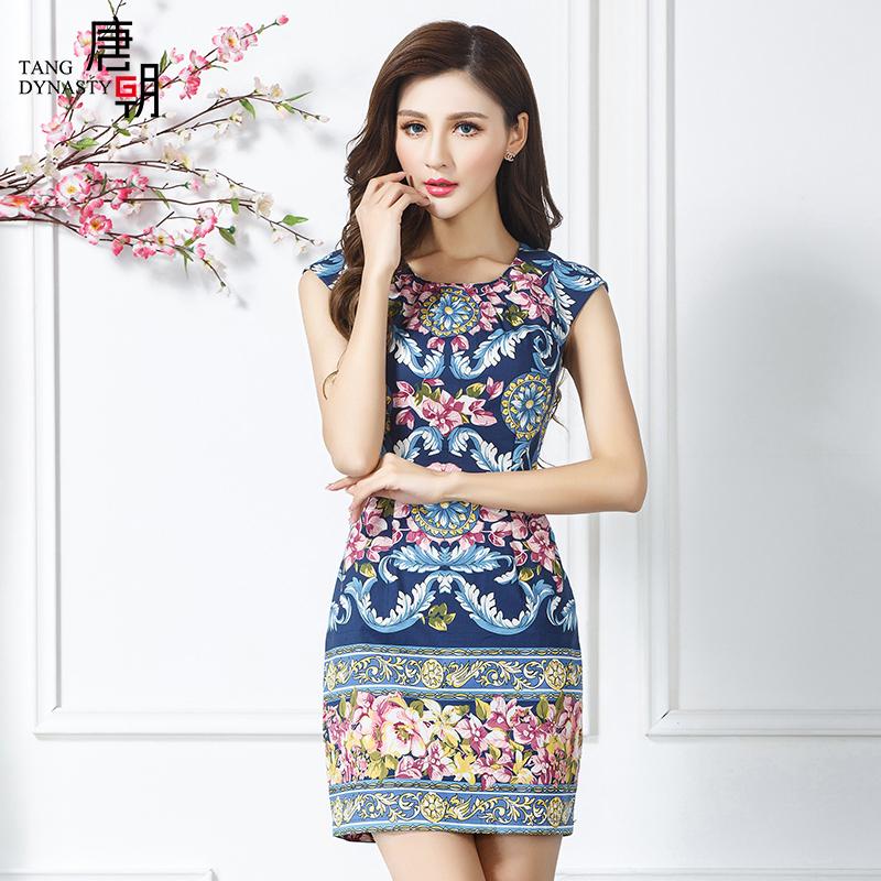唐朝2016夏季新款时尚女装中国风民族风花色印花连衣裙女TXF50158