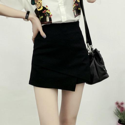 夏季新款韩版高腰不规则设计修身显瘦A字半身女裤裙 白色裤裙女