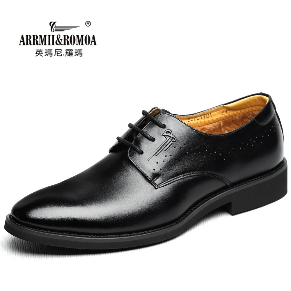 冬季英伦尖头系带真皮加绒商务皮鞋