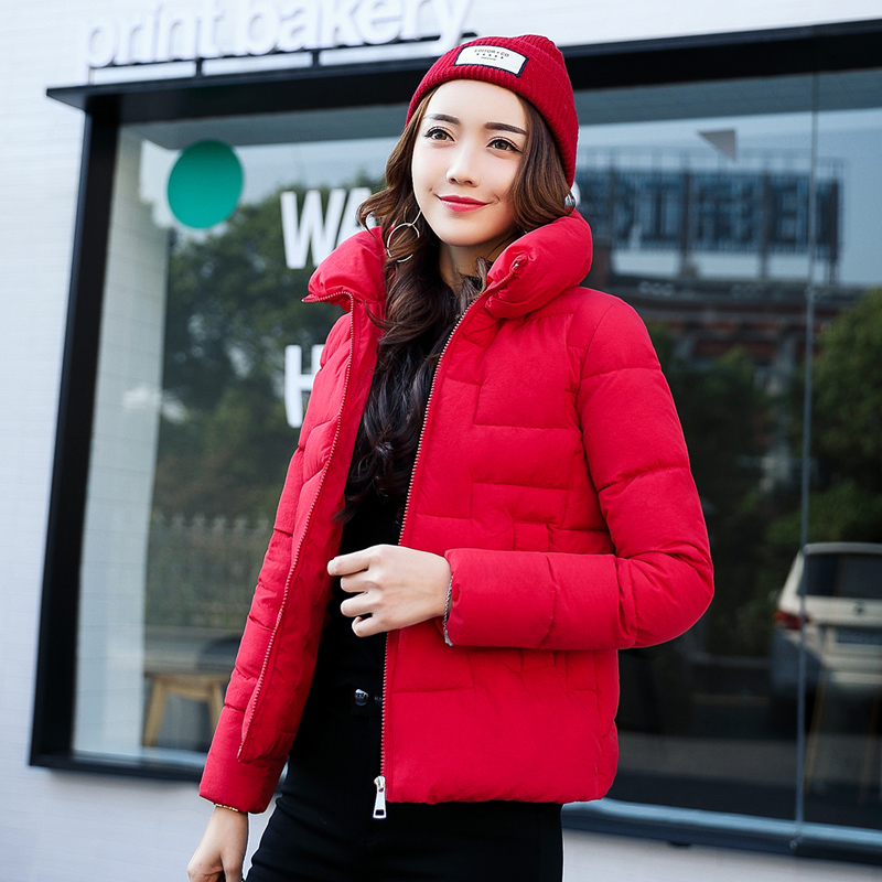 麦树新款韩版短款棉服女立领小棉袄时尚保暖棉衣冬装防寒外套女图片