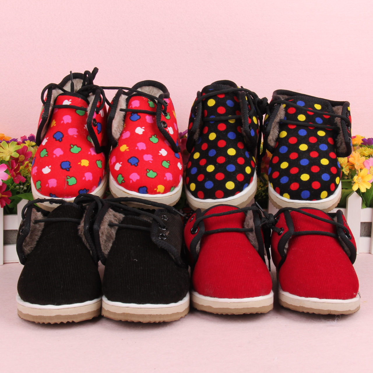 宝宝婴儿冬季手工灯心绒棉鞋保暖加绒男女儿童防滑学步棉鞋