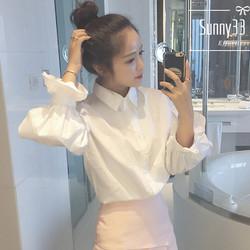 秋装女装韩版学院风减龄泡泡袖白色衬衫学生宽松百搭长袖衬衣上衣