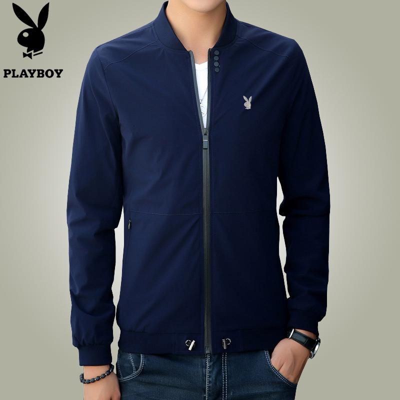 正品花花公子冬季新款夹克男士棒球衣修身韩版立领青年外套夹棉