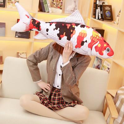 可爱仿真锦鲤鱼抱枕毛绒玩具年年有余鱼公仔靠垫布娃娃可拆洗抱枕