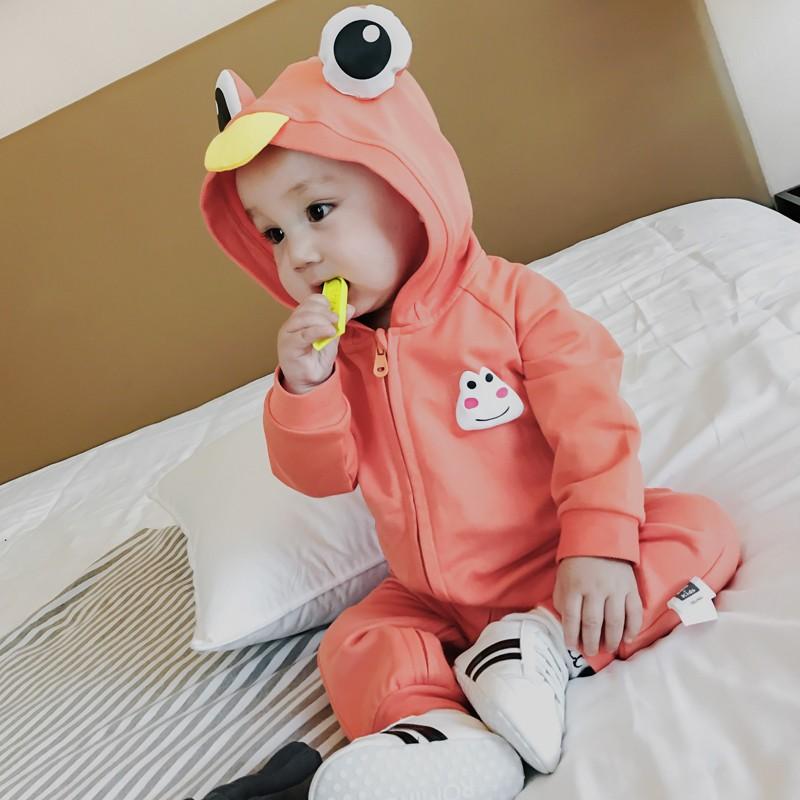 沃康婴儿外出服春装新生儿爬服男儿童纯棉长袖哈衣宝宝可爱连体衣