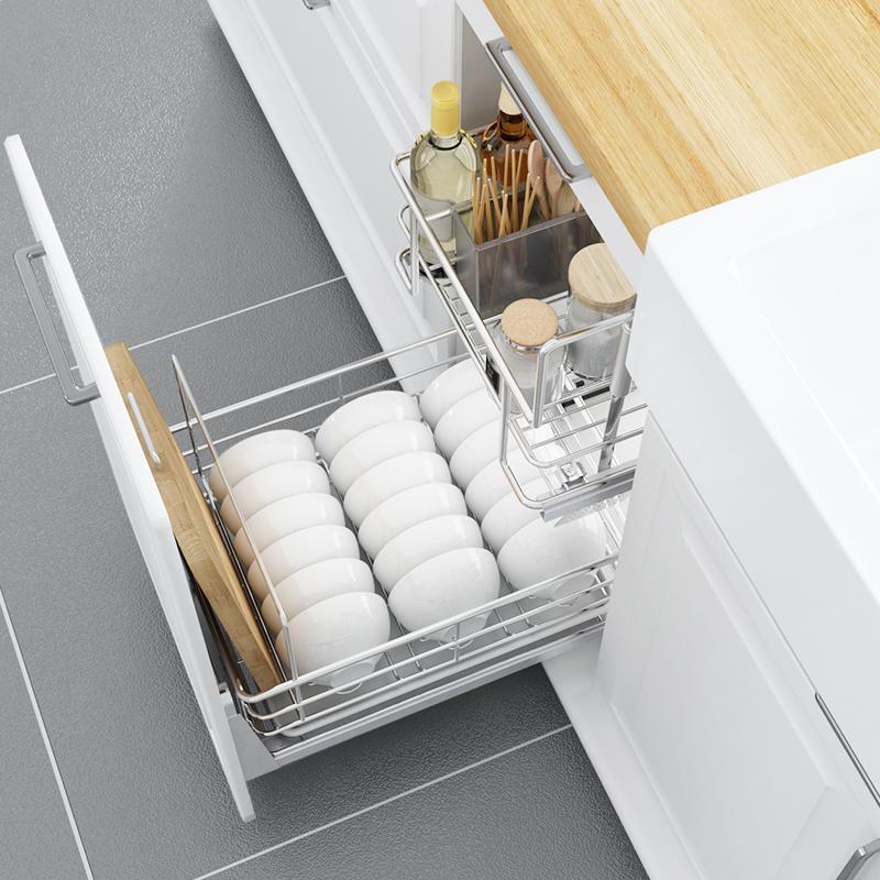 意驰调味篮不锈钢厨房橱柜拉篮置物架厨柜碗篮抽屉碗架柜双层阻尼