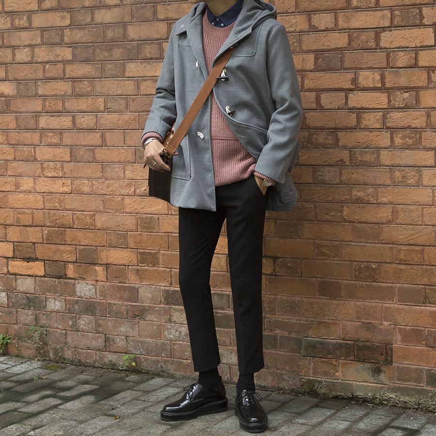 大赖自制 秋冬韩版青年牛角扣学院风中长款加厚宽松外套大衣男潮