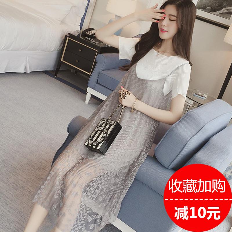 孕妇装蕾丝连衣裙时尚上衣裙两件套装吊带夏装短袖