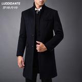 秋冬羊毛大衣男中长款中年立领商务毛呢大衣男士修身呢子风衣外套