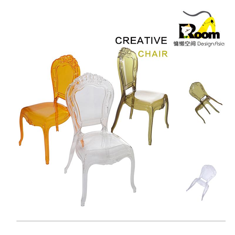 欧式休闲椅个性创意餐椅简约咖啡厅椅子透明餐椅子宫廷椅水晶椅子