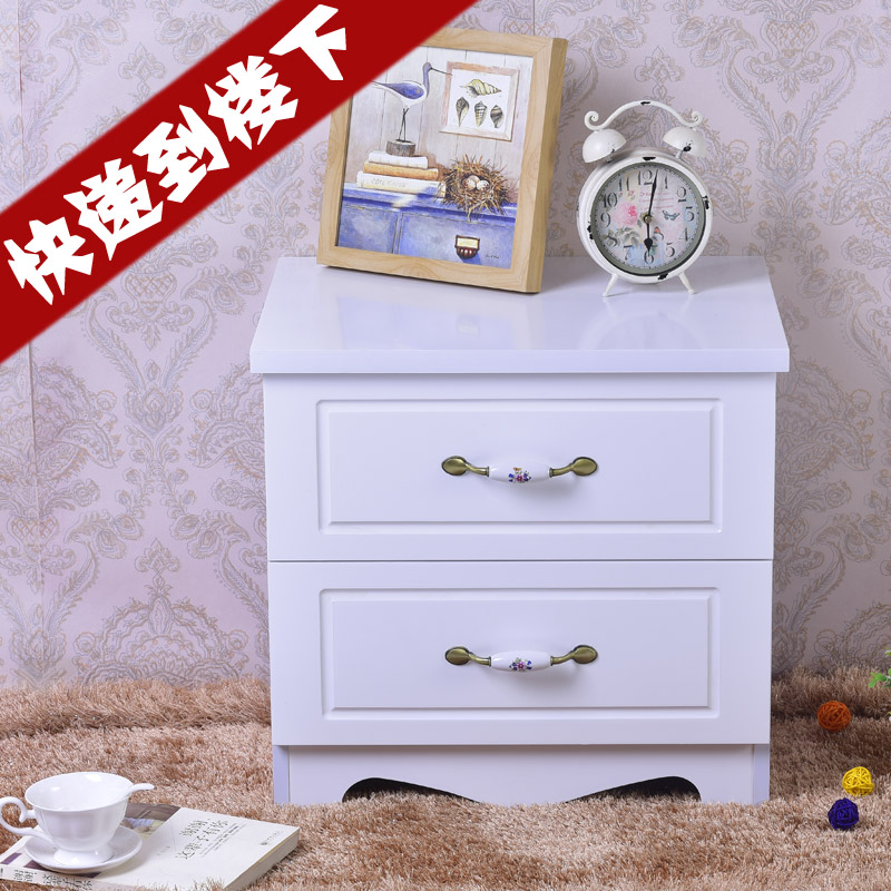 简易欧式烤漆床头柜简约现代象牙白色