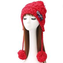 春秋冬季韩版时尚辫子毛球双发夹女针织帽  女士加绒保暖毛线帽子