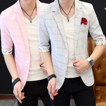 夏季男士薄款中袖西装娱乐网站白菜网站大全修身青