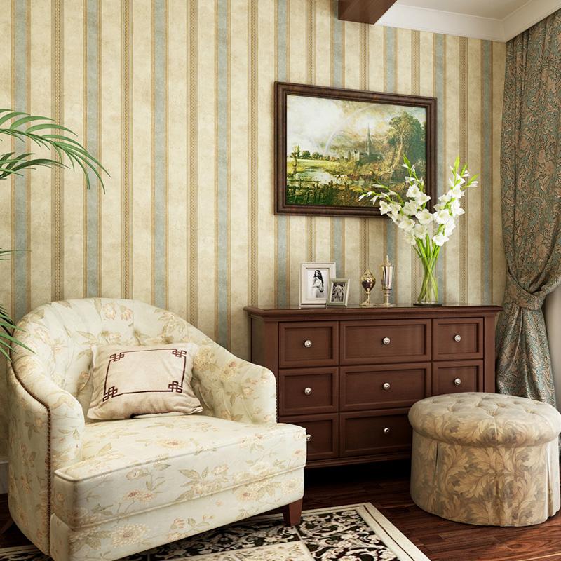 美式纯纸墙纸复古竖条纹壁纸卧室客厅满铺电视背景墙进口环保高端图片