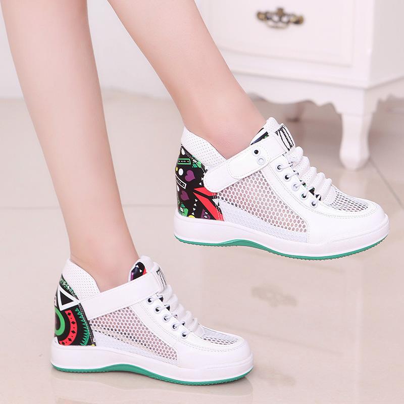 女鞋运动鞋网鞋韩版百搭内透气魔术增高夏季休闲鞋