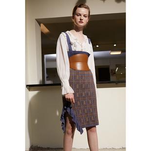 背带高腰侧开衩几何花纹荷叶边针织包臀裙 RIMLESS无边设计师品牌