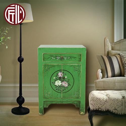 新中式复古仿古纯手工绘画绿漆玄关柜门厅柜卧室床头柜