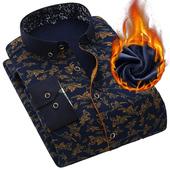 秋冬季加绒男士保暖衬衫休闲格子印花中年长袖加厚男装保暖衬衣