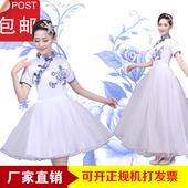 大合唱演出服古典青花瓷长裙现代舞台装 古筝舞蹈表演服成人女 新款