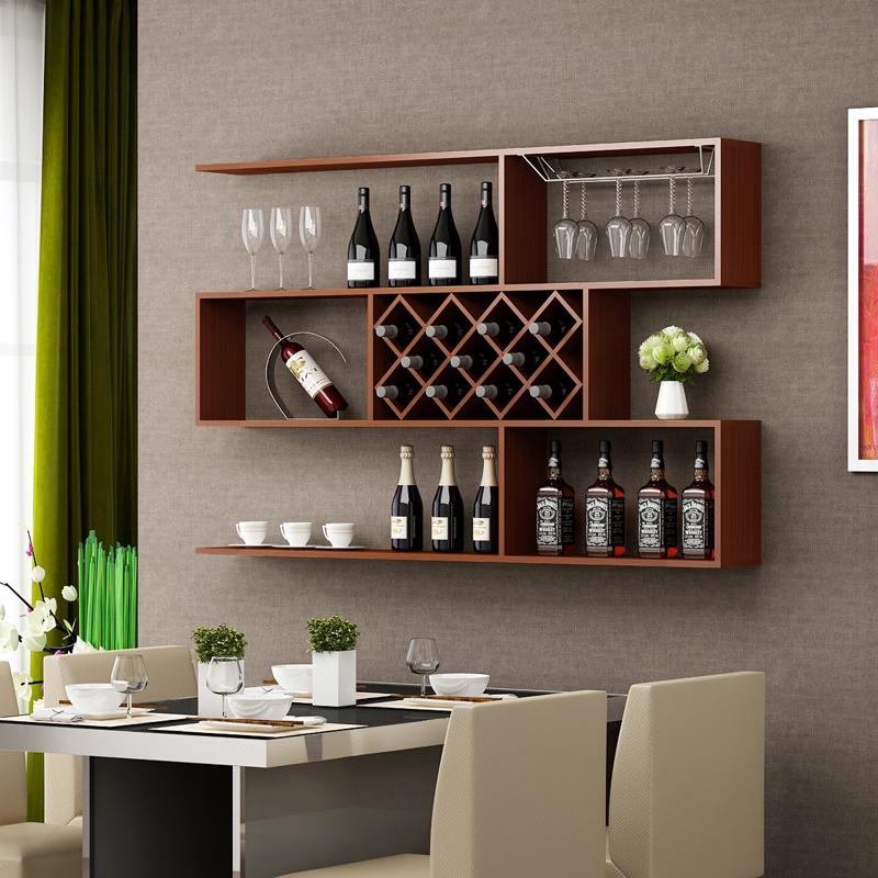 包邮壁挂红酒架现代简约酒柜墙上搁板创意格子餐厅置物架客厅墙架图片