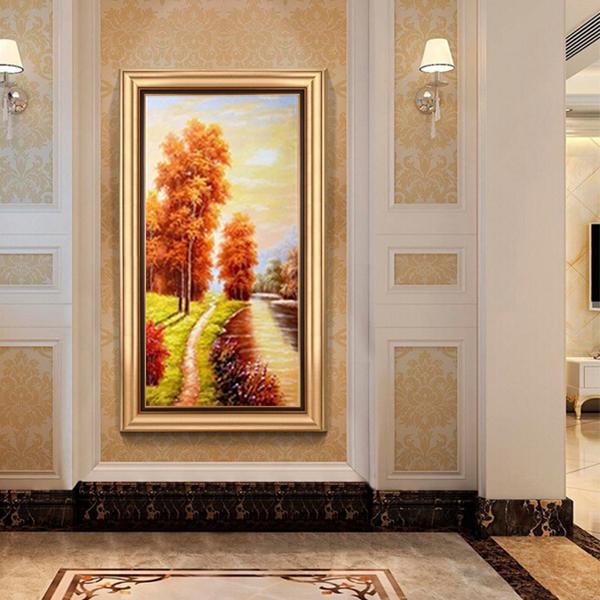 画客厅挂画走廊过道山水风景油画竖版餐厅美式壁画