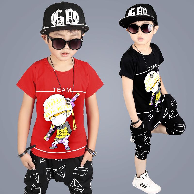 中大童童装夏季纯棉儿童两件套卡通动漫套装男童