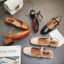 韩版夏季新款玛丽珍鞋粗跟方头凉鞋时尚百搭学生中跟包头罗马鞋女