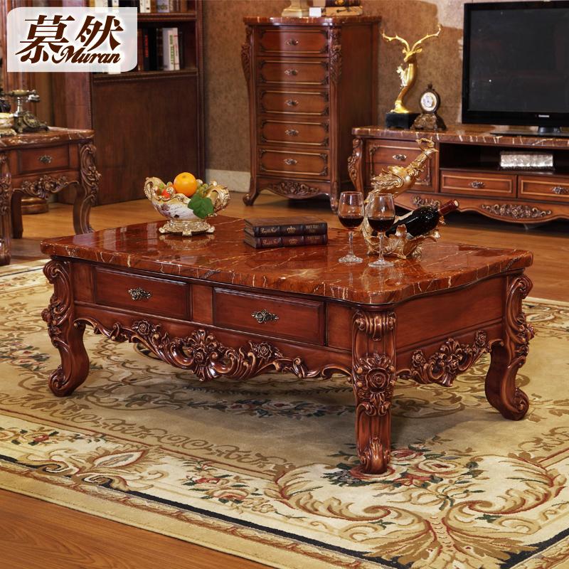 欧式大理石茶几 实木雕花奢华客厅长方几
