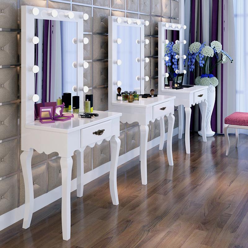 现货欧式新款烤漆梳妆台桌现代专业影楼化妆台带灯镜
