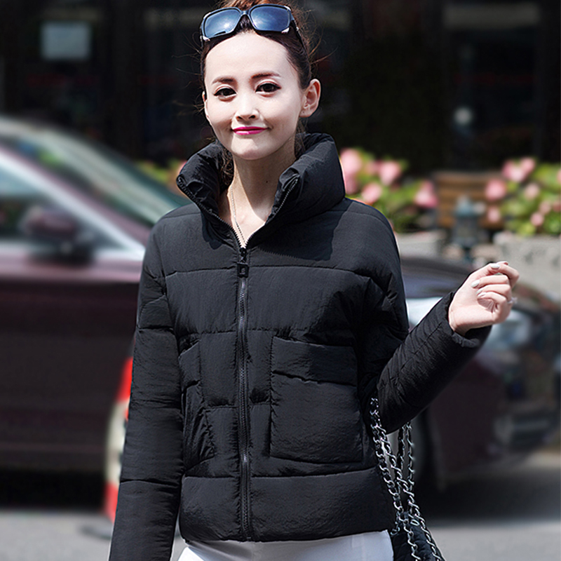 秋冬韓版立領短款外套棉襖小款顯瘦羽絨棉衣加厚