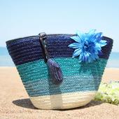 夏季新款花朵女包编织包大包包草编包沙滩包单肩手提包海边度假包