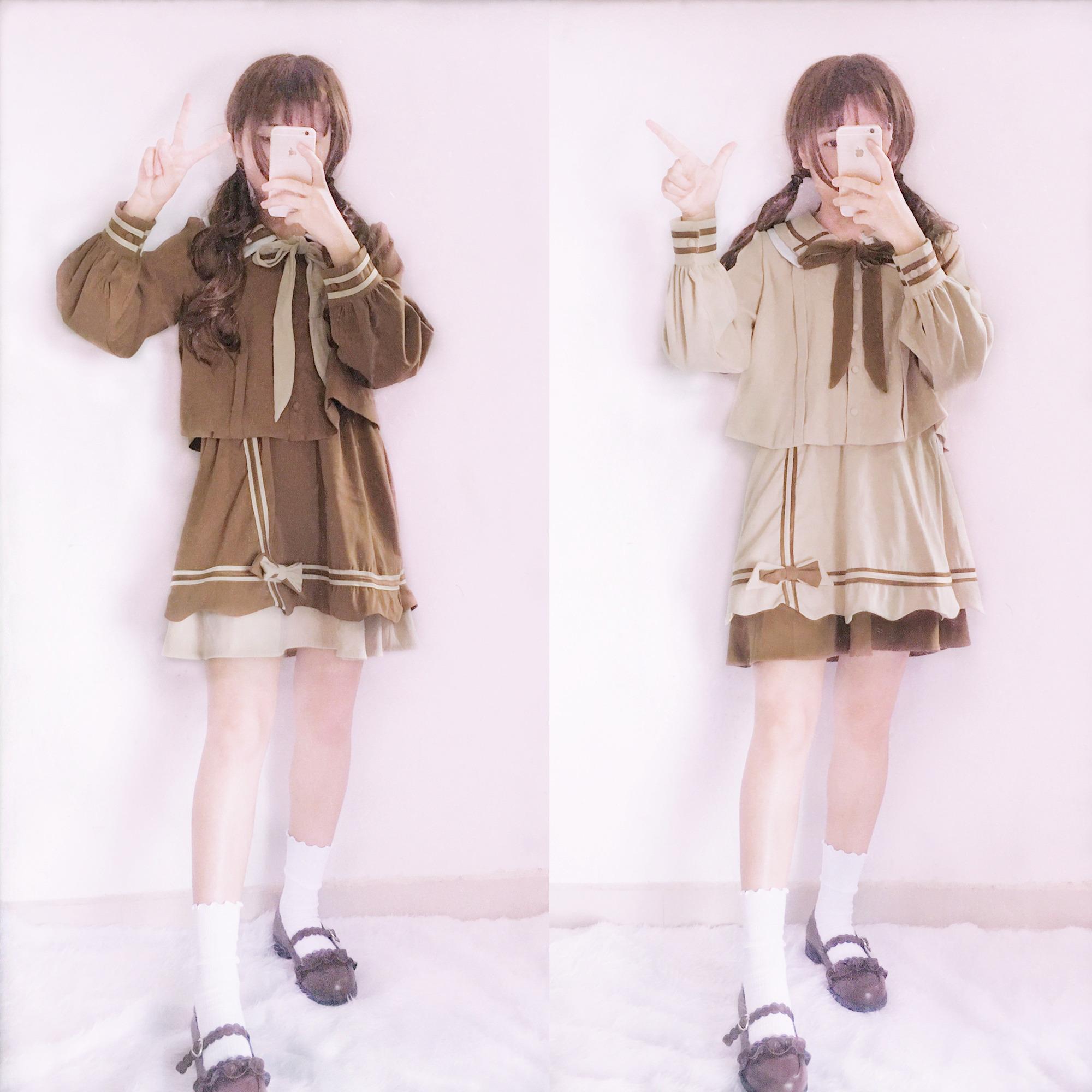 秋冬季日系软妹服甜美可爱lolita学院风学生jk制服套装裙两件套女