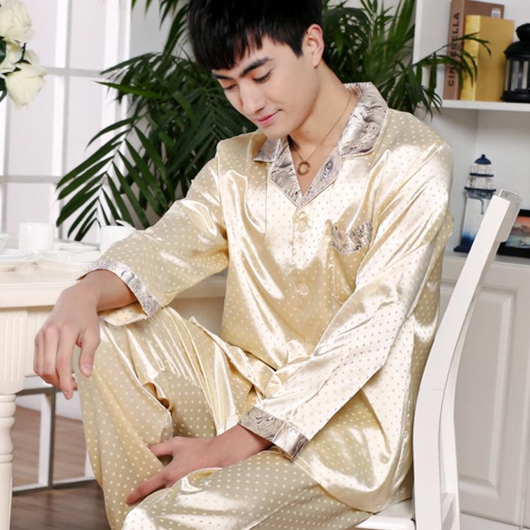 家居服男士套裝春秋真絲長袖睡衣季男款夏天絲綢